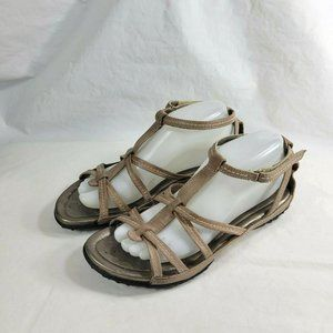 Ecco Women Strappy Sandals Leather Tan Comfort